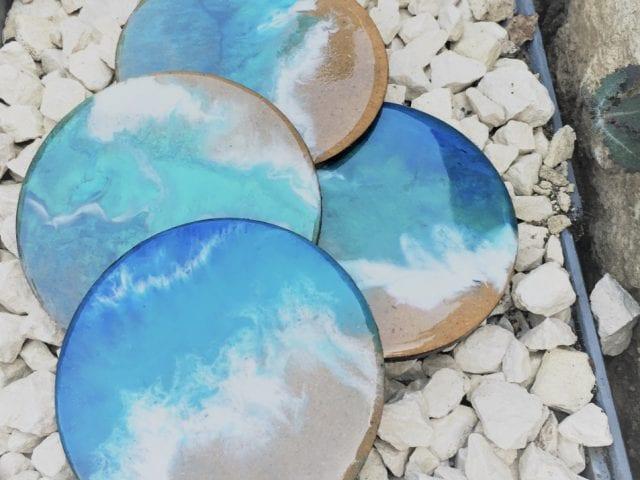 coasters on stones