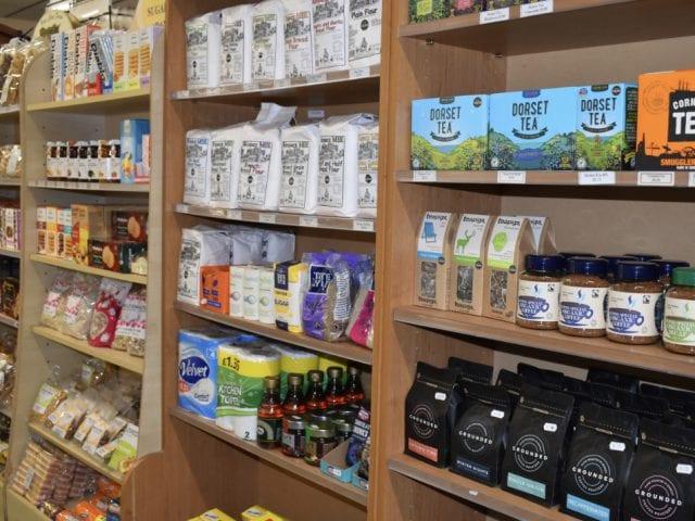 Shelf of tea and essentials at Vines Farm Shop