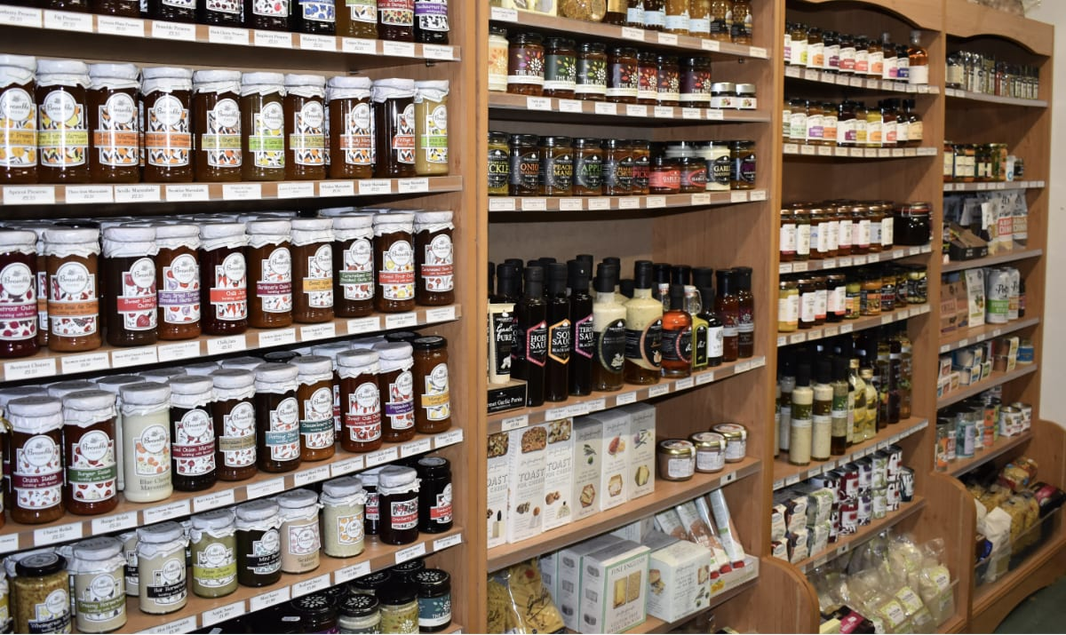 jars of jam and sauces at vines farm shop
