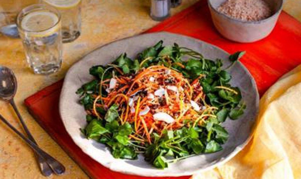plate with peshwari and watercress salad