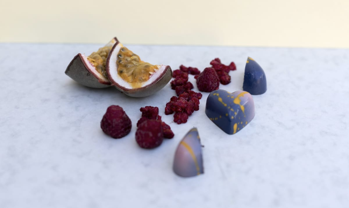 passionfruit and raspberries with chocolates
