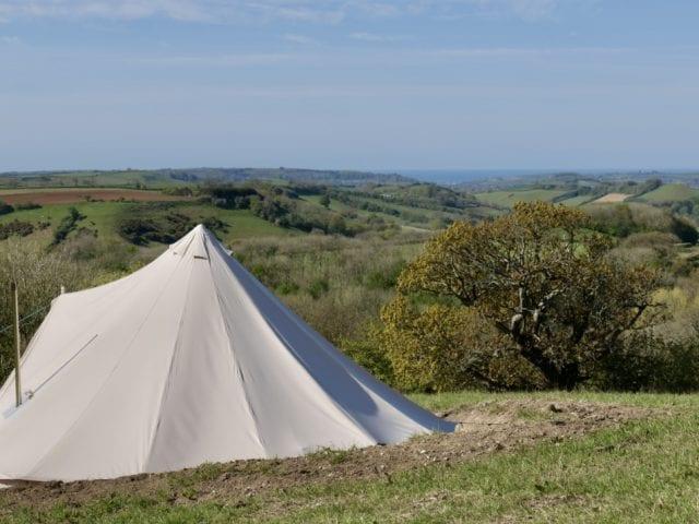 tent at mapperton overlooking mapperton estate
