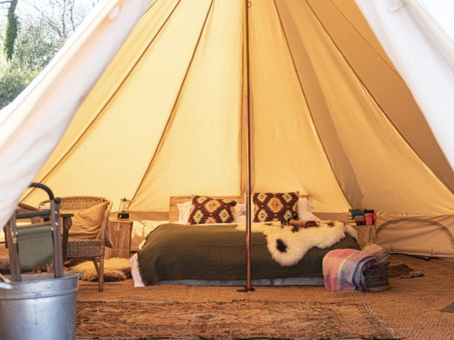 inside of a tent at mapperton