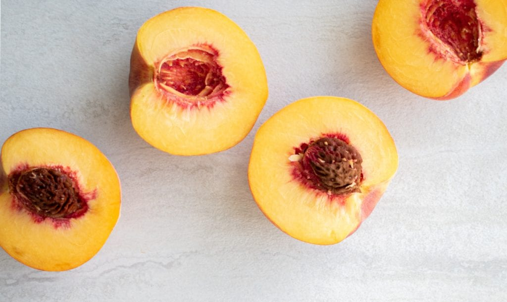 peaches on a work top