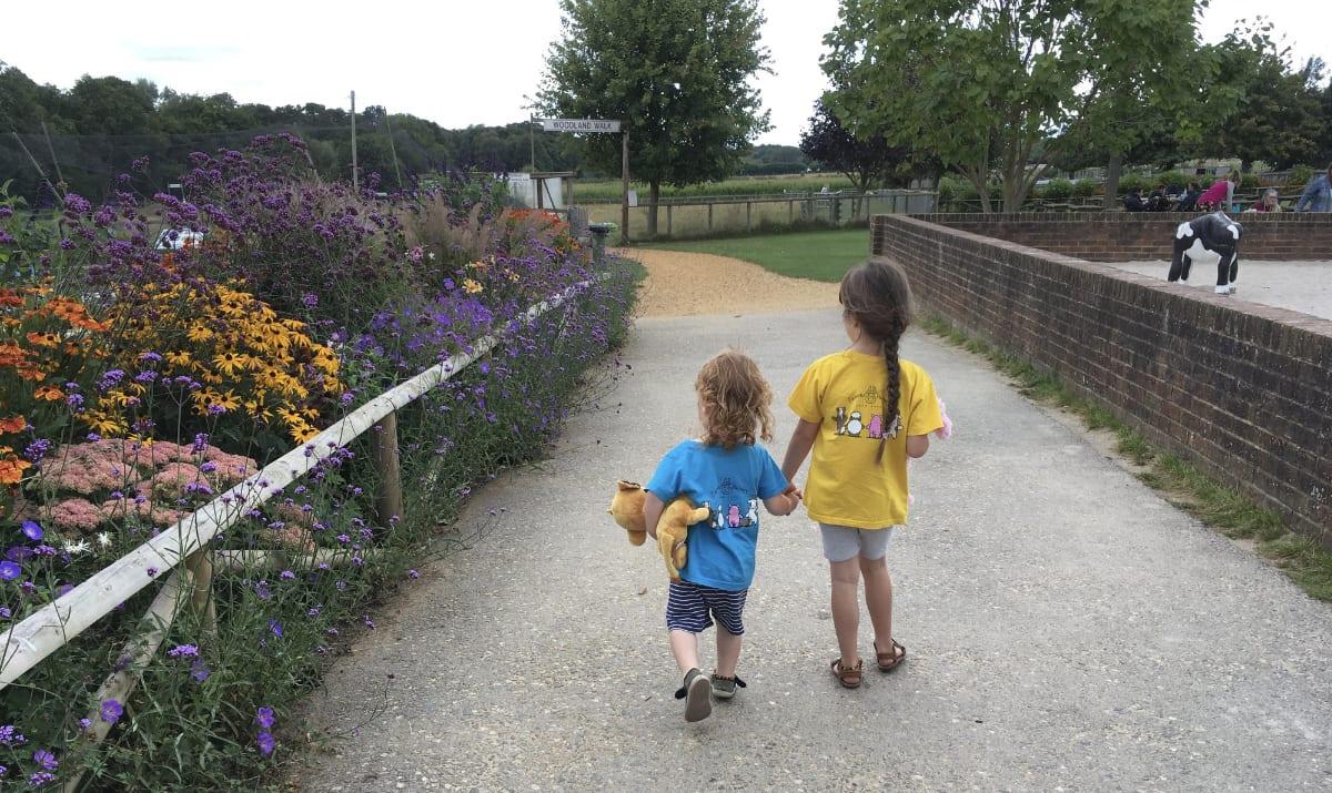 two children exploring farmer palmers farm park